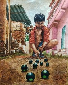 Playing  marble