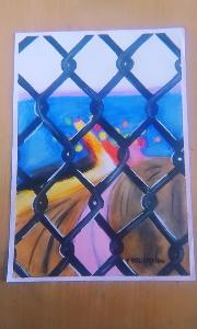 Beautiful scenery made with oil pastel