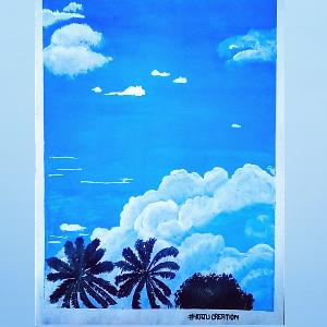 Sky view with coconut tree